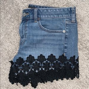 Express stretch crochet trim denim shirt